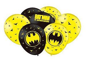 Balão Bexiga Batman Geek Amarelo E Preto - 25uni