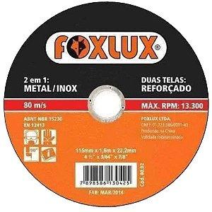 Disco De Corte 4.1/2'' x 1x22,2mm Para Metal Inox Foxlux