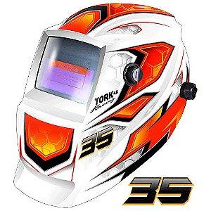 Máscara de Solda Super Tork MTR 9035 Racing Branca Com Escurecimento Automático