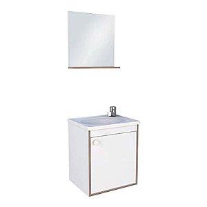 Kit De Gabinete + Espelheira Para Banheiro Branco Com Pérola 40CM Cozimax