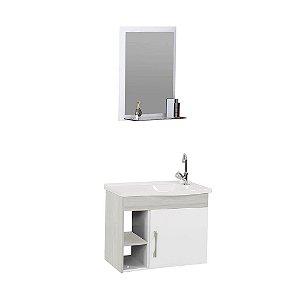 Kit De Gabinete + Espelheira Para Banheiro 55,5cm Turim Palissandro Rorato