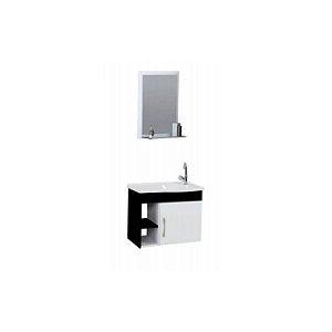 Kit De Gabinete + Espelheira Para Banheiro 55,5cm Turim Preto Rorato