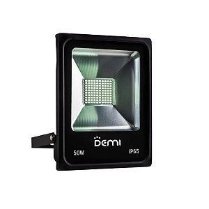 Refletor LED Demi 50W 6500K Luz Branca Bivolt Preto