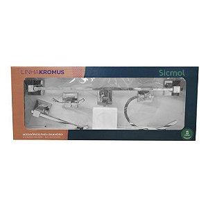 Kit de Acessórios Para Banheiro Kromus Sicmol 5 peças em Alumínio
