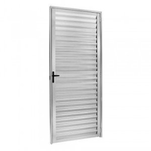 Porta De Aluminio Palheta Direita Ecosul 2,10x0,80cm Brilhante Esquadrisul