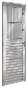 Porta De Aluminio Postigo Direita Ecosul 2,10x0,80cm Brilhante Esquadrisul