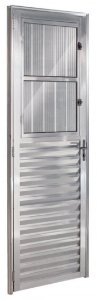 Porta De Aluminio Postigo Esquerda Ecosul 2,10x0,80cm Brilhante Esquadrisul