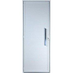 Porta De Aluminio Branca Lambril Direita 2,20x0,90cm Com Puxador Esquadrisul