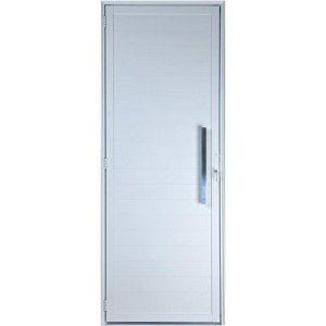 Porta De Aluminio Branca Lambril Sem Visor Esquerda 2,20x0,90cm Com Puxador Esquadrisul