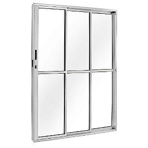 Porta De Correr Aluminio Esquerda 3 Folhas 2,10x1,20cm Brilhante Esquadrisul