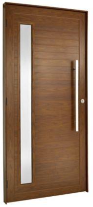 Porta De Aluminio Cerejeira  Direita 2,20X1,20cm Com Puxador Com Visor Esquadrisul