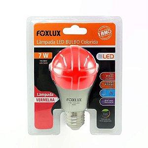 Lâmpada Led Bulbo 7w a60 Colorida Vermelho Foxlux