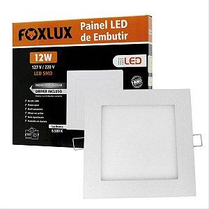 Painel De Led 12W De Embutir Branco Quadrado Bivolt Foxlux