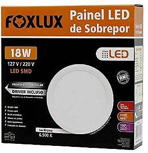Painel De Led 18W De Sobrepor Branco Redondo Bivolt Foxlux