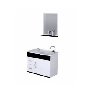 Kit De Gabinete Para Banheiro Siena 2 Gavetas 1 Porta Branco Com Preto  Rorato