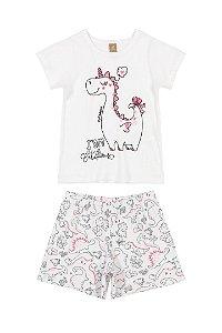Pijama Infantil Menina Camiseta e Bermuda Feminino Dino Rosa