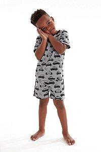 Pijama Infantil Menino Camiseta e Bermuda Masculino Carrinhos
