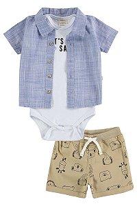 Conjunto Menino Body, Camisa em Tricoline e Bermuda em Sarja Safari