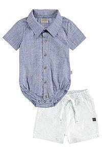 Conjunto Bebê Body Camisa e Bermuda de Sarja Teco