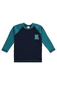 Camiseta de Praia Bebê em Malha Dry com Proteção UV50+ Pequeno Urso