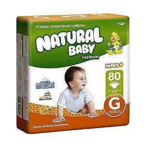 Fralda Infantil Natural Baby Premium Hiper G 80 Unidades