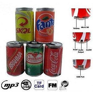 Mini Caixa de Som FM/MP3 Latinha