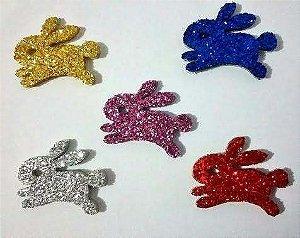 Adesivos E.V.A Glitter - Coelhos Páscoa - 10 unids