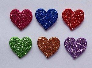 Adesivos E.V.A Glitter Coração - 10 unids