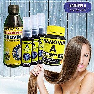 Kit Bombástico Nanovin A (Shampoo + Tônico + Suplemento) Cavalo de Ouro