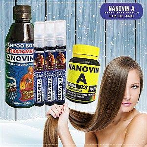 Kit Bombástico Nanovin A (Shampoo + Tônico + Suplemento) Krina de Cavalo