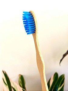 Escova de dente de bambu personalizada - cerdas azuis