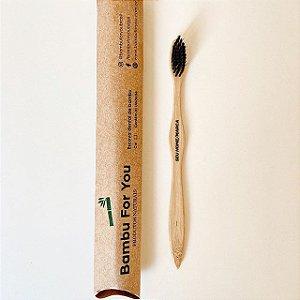 Escova de dente infantil de bambu personalizada - cerdas pretas
