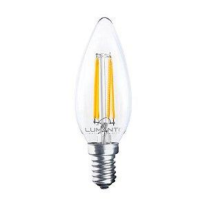 LAMPADA VELA CLEAR C35 LED FILAMENTO 4W 7200K E-14 220V 400 LUMENS