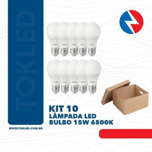 Kit 10 Lâmpadas Led Bulbo 15W 6500K