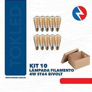 Kit 10 Lâmpadas Filamento 4W ST64 Bivolt