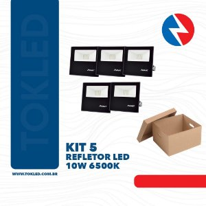 Kit 5 Refletores Led 10W Verde