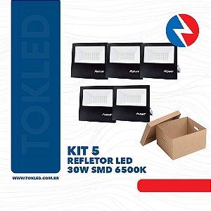 Kit 5 Refletores Led 30W SMD 6500K