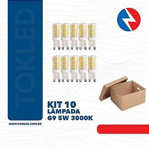 Kit 10 Lâmpadas Led G9 5W 3000K