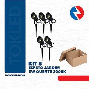 Kit 5 Espeto Jardim 5W Quente 3000K