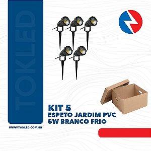 Kit 5 Espetos Jardim Pvc 5W 6500k