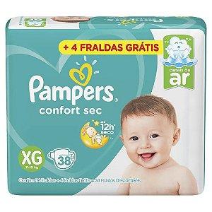 Fralda Pampers Confort Sec Tam XG (11-15 Kg) 38 Fraldas + 4 fraldas Grátis