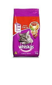 Ração Gato Adulto de 1+ Anos sabor Carne Whiskas 1kg