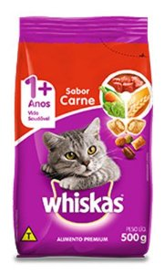 Ração Gato Adulto de 1+ Anos sabor Carne Whiskas 500g
