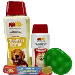 Kit Higiene ProCão - Shampoo Neutro 500ml + Condicionador 200ml Grátis uma Escova