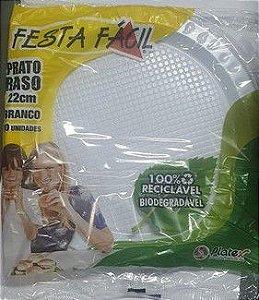 Descartáveis Prato 22 cm Branco Festa Fácil 10uni