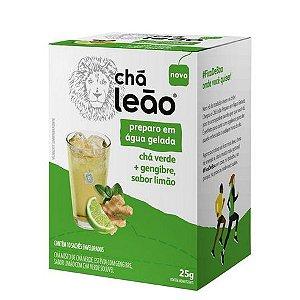 Chá Leão para Preparo em Água Gelada Chá Verde + Gengibre, Sabor Limão