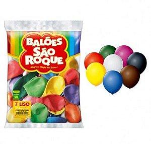 Balões Sortido Roque nº7 embalagem com 50 unid