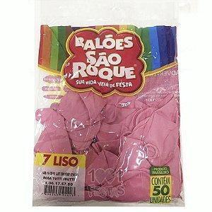 Balões Rosa Titti Frutti São Roque nº7 embalagem com 50 unid