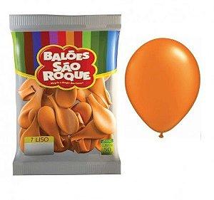 Balões Laranja Mandarim Folha São Roque nº7 embalagem com 50 unid
