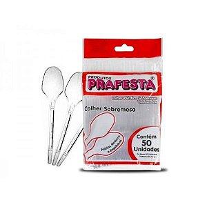Colher para Sobremesa Cristal  Prafesta Biodegradável Pacote com 50uni